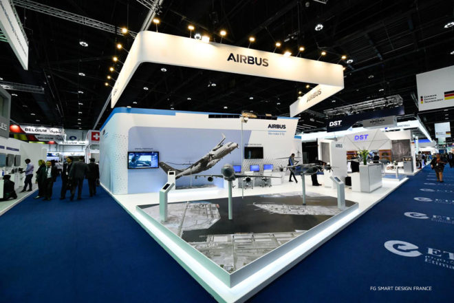 Airbus Exhibition Stand at the International Defence Exhibition and Conference 2019